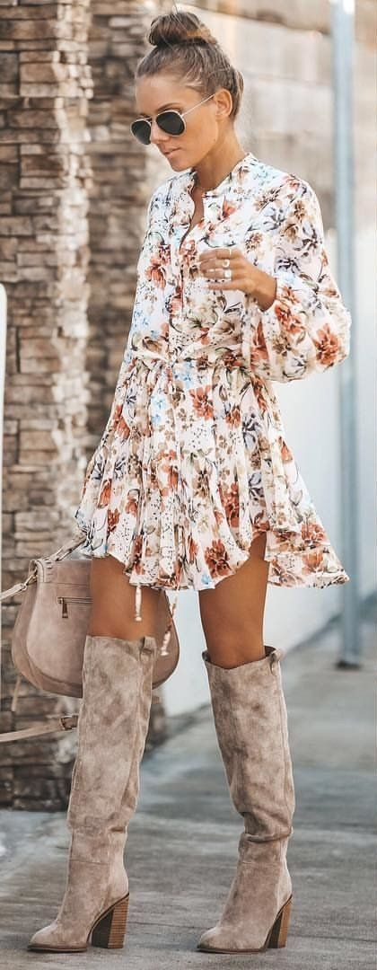 white and brown floral long-sleeved dress #spring #outfits