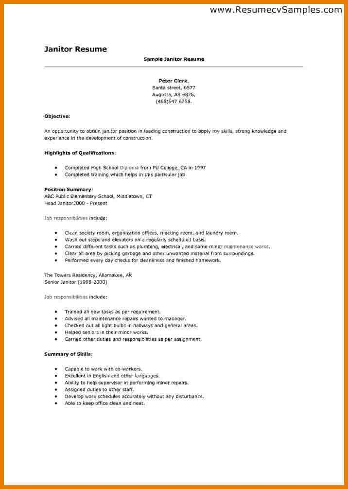 Janitorial Resume Objective Custodian Worker Resume Objective - social worker resume objective