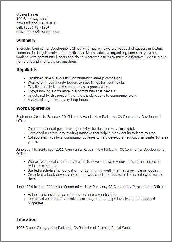 community development specialist sample resume node2002-cvresume