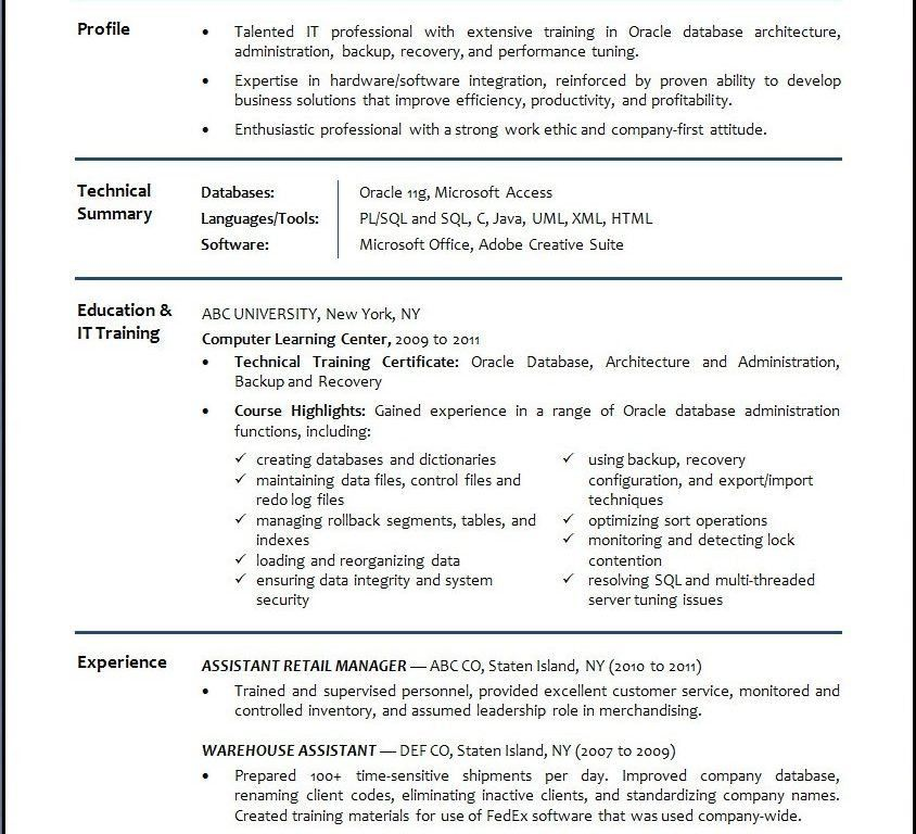 dba resume sample
