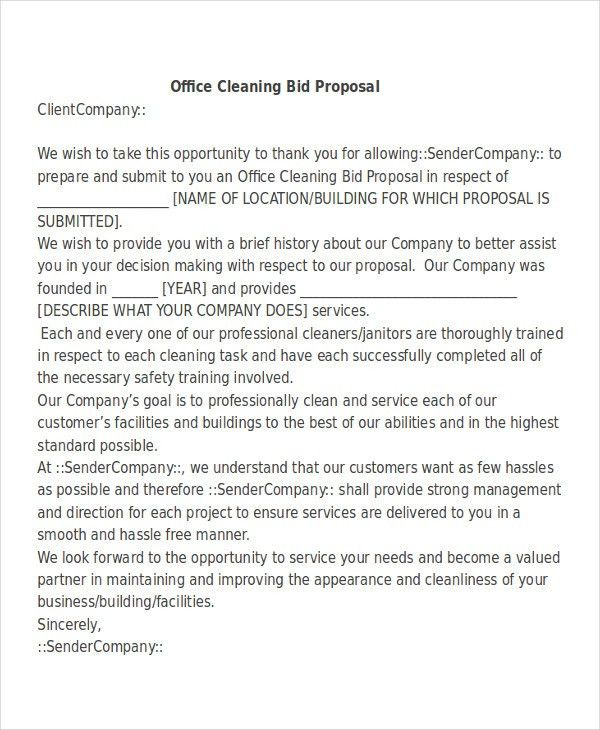 Example Proposal Letter 32 Sample Business Proposal Letters - cleaning proposal letter