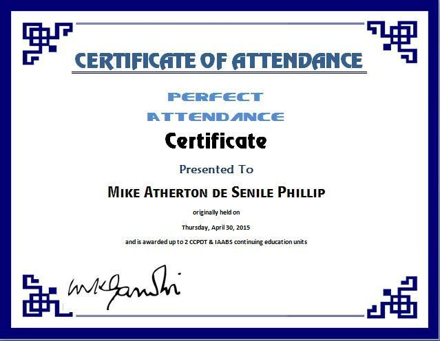 Perfect Attendance Certificate Template Perfect Attendance Award - printable certificate of attendance