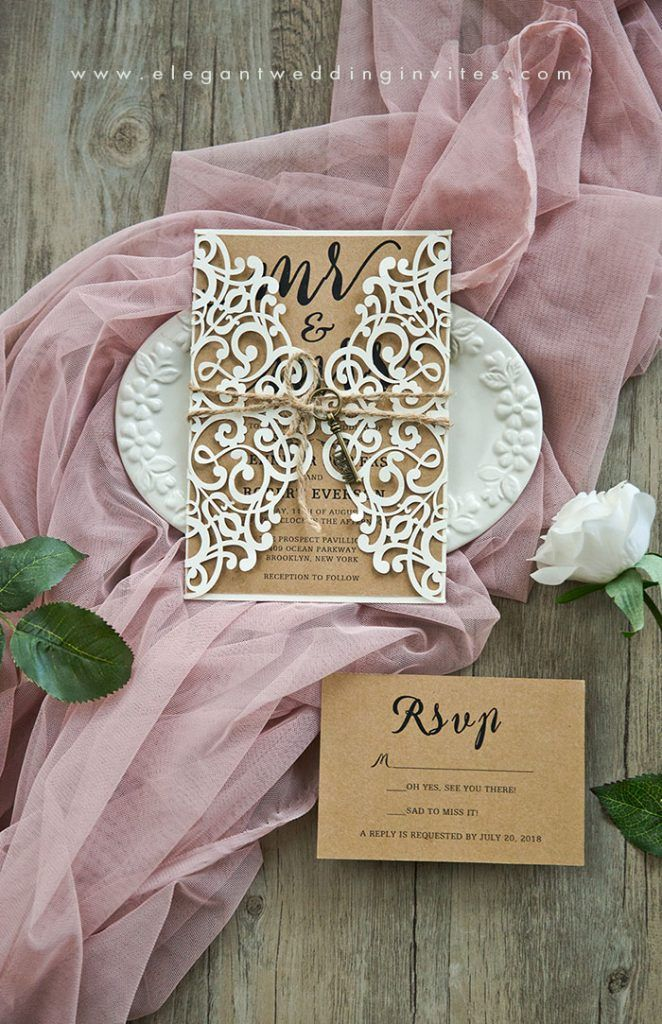 elegant wooden rustic wedding invitation with ivory white laser cut wrap