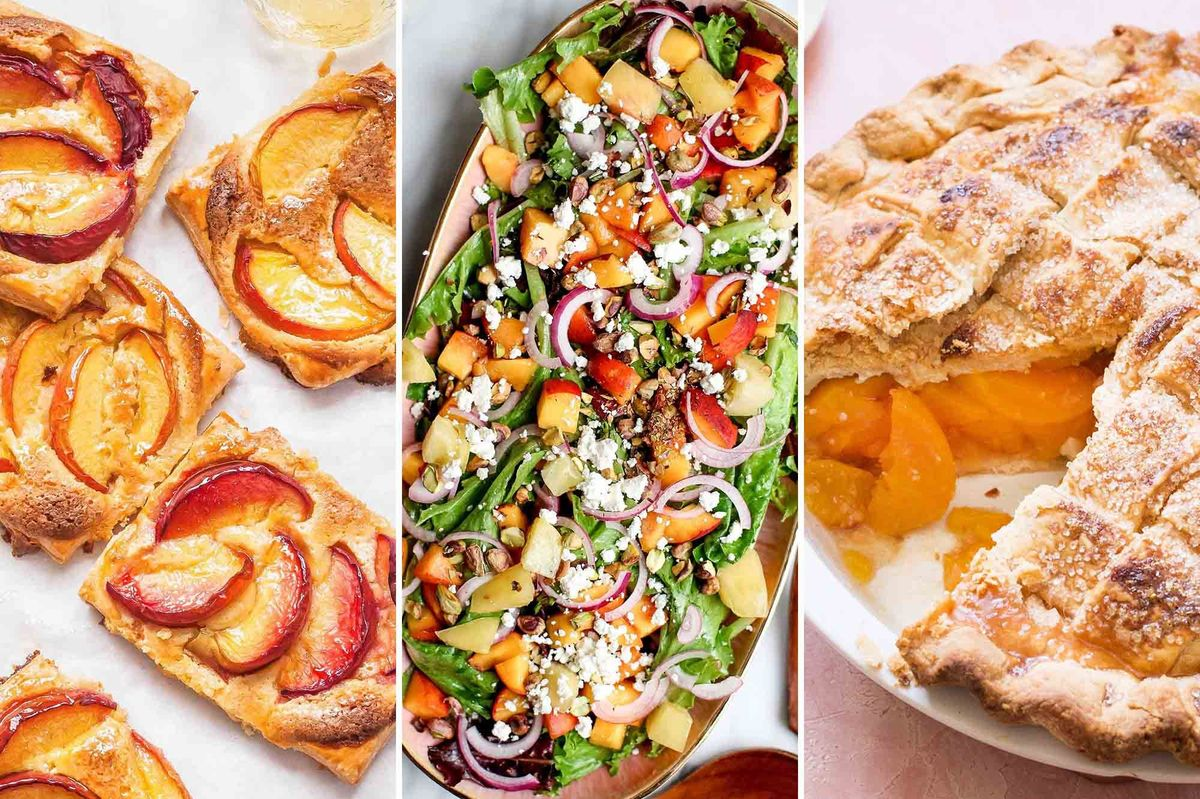 Summer peach season is in full swing! Here's 12 delicious recipes from @Simplyrecipes to get your peach fix this season. #foodblogger #eeeeeats #summerrecipes