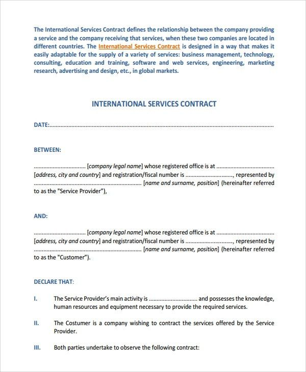 contract between two companies for services