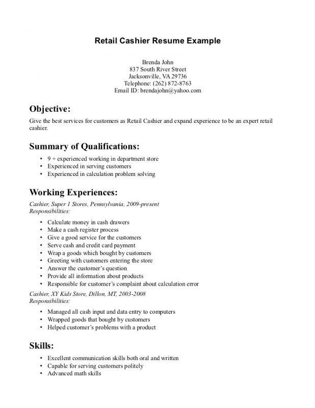 Objective For Retail Resume On A