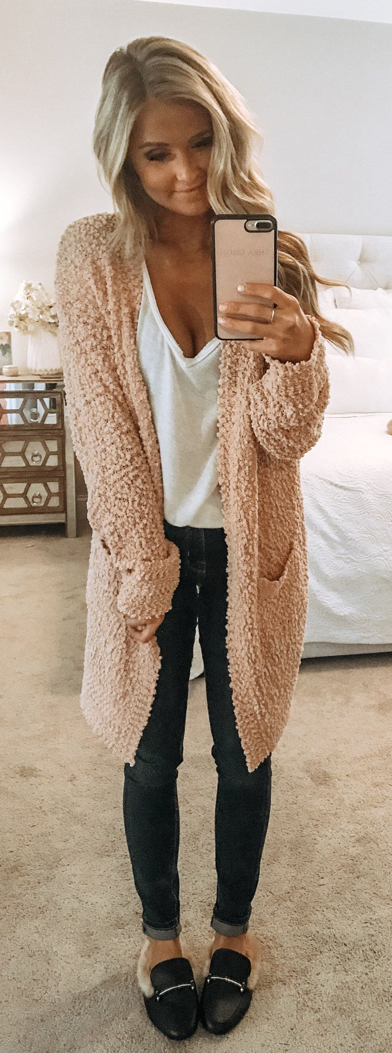 beige knit cardigan
