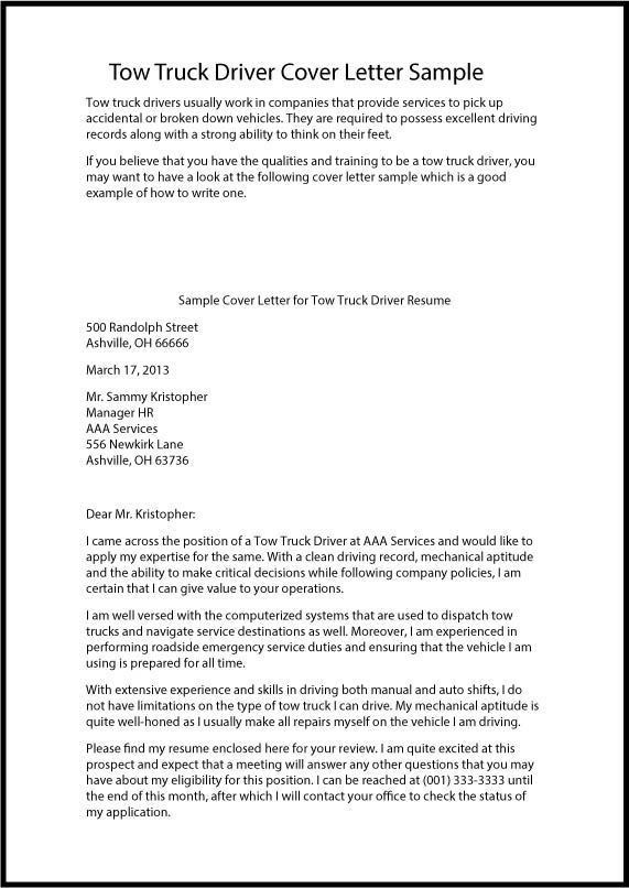 Water truck driver cover letter