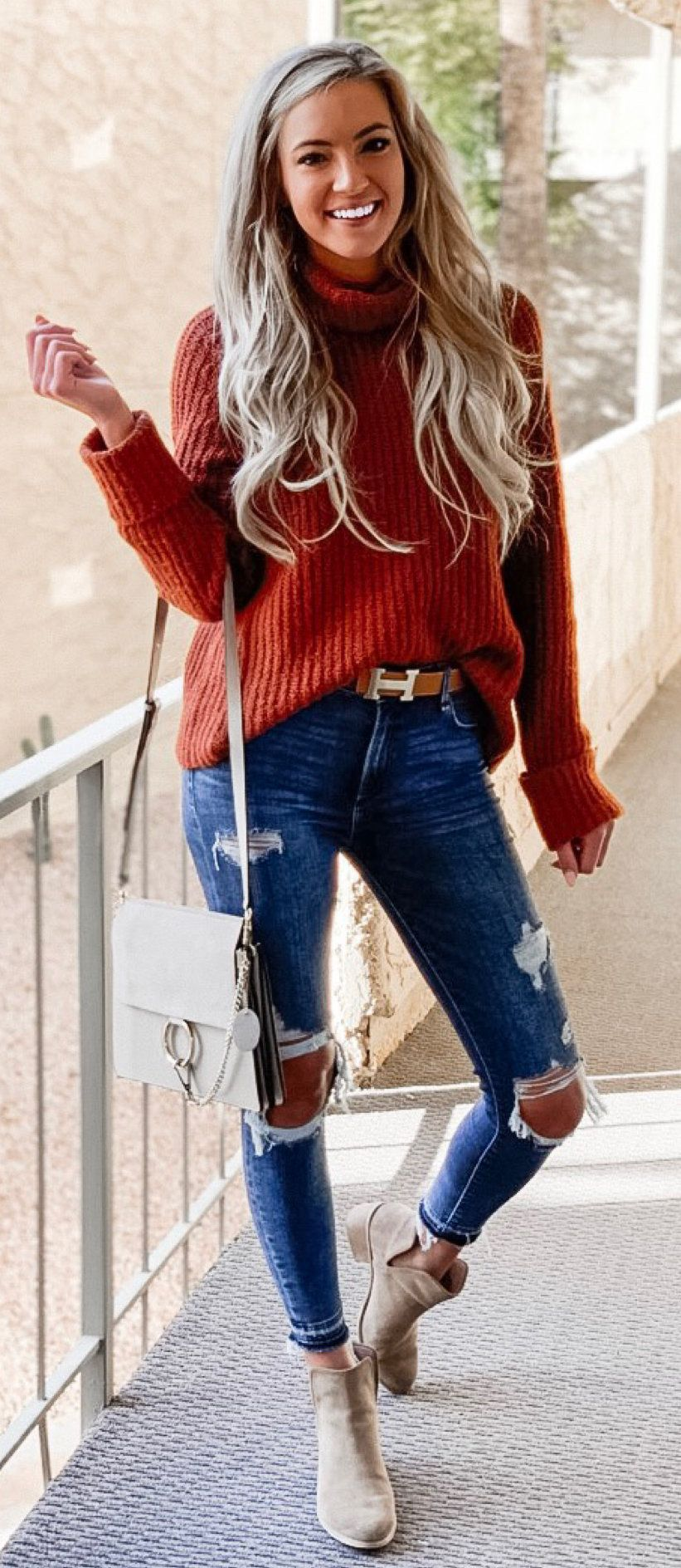 red sweater #spring #outfits