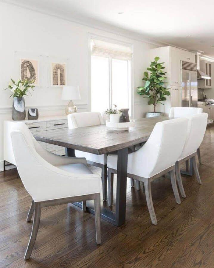 mesa com cadeira branca para sala de jantar #cadeirabranca #cadeirabrancajantar #cadeirabrancaquarto