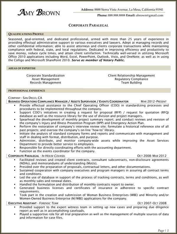 Paralegal Resume Example - Examples Of Resumes