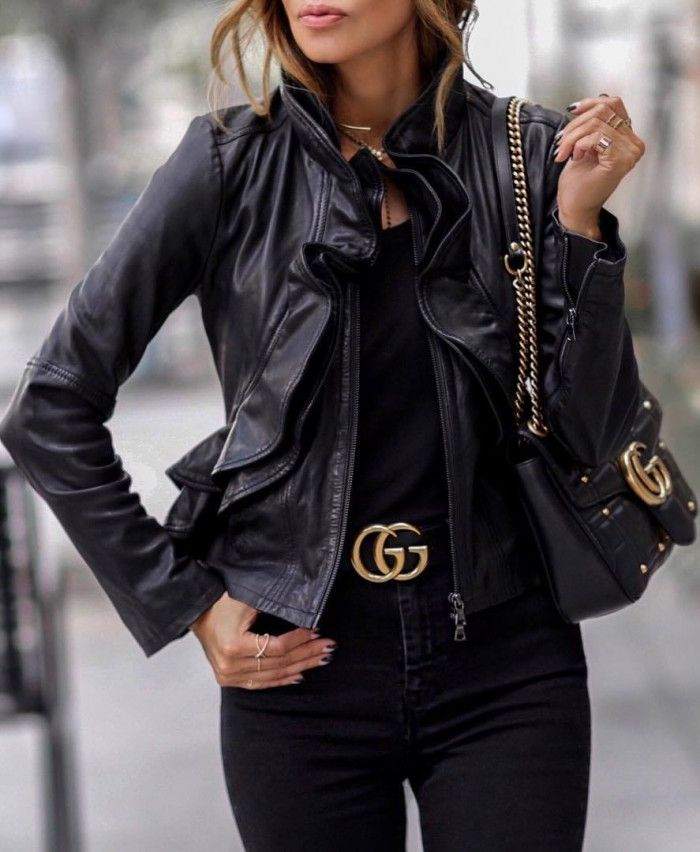 beautiful outfit / ruffle leather jacket bag top skinnies