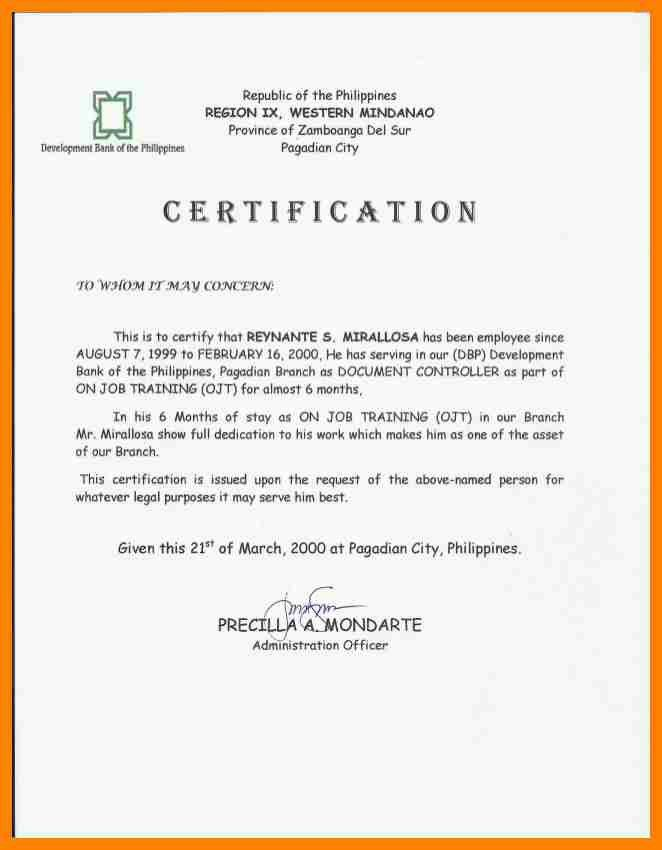 Sample ojt certificate of completion etamemibawa sample ojt certificate of completion ojt certificate of completion letter sample mafiadoc com yadclub Choice Image