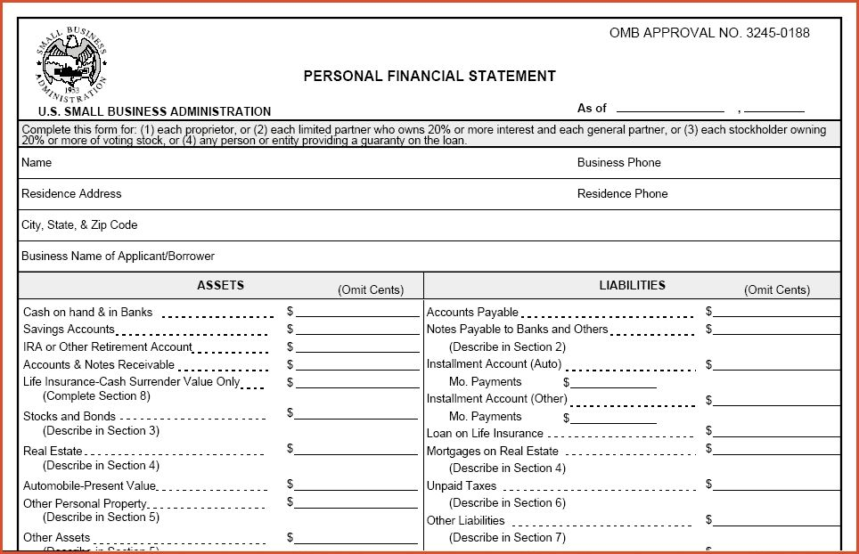 Personal Financial Statement Template Personal Financial - sample personal financial statement