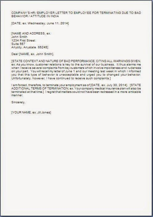 Employee Termination Letter Format Free Termination Letter - job termination letter