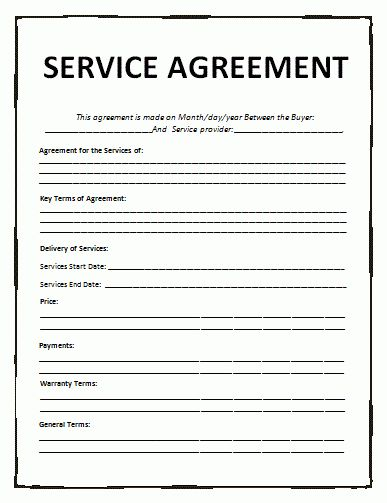 Blank Contract Forms Agreement Templates Free Word Templates - service contract form