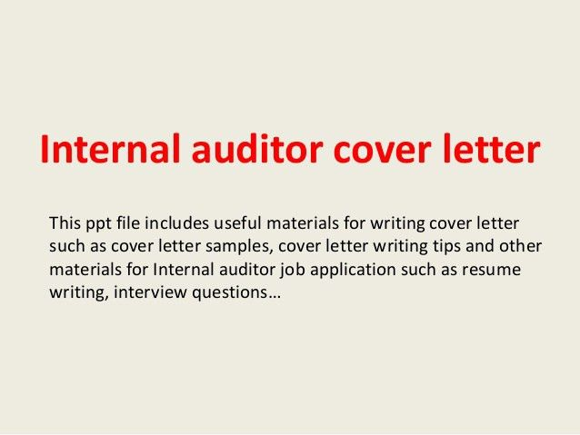 Senior Internal Auditor Cover Letter Sample S
