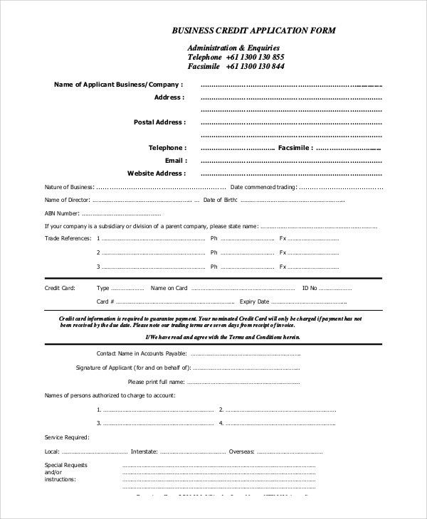 Sample Credit Card Application Form 11 Sample Credit Application - credit application form