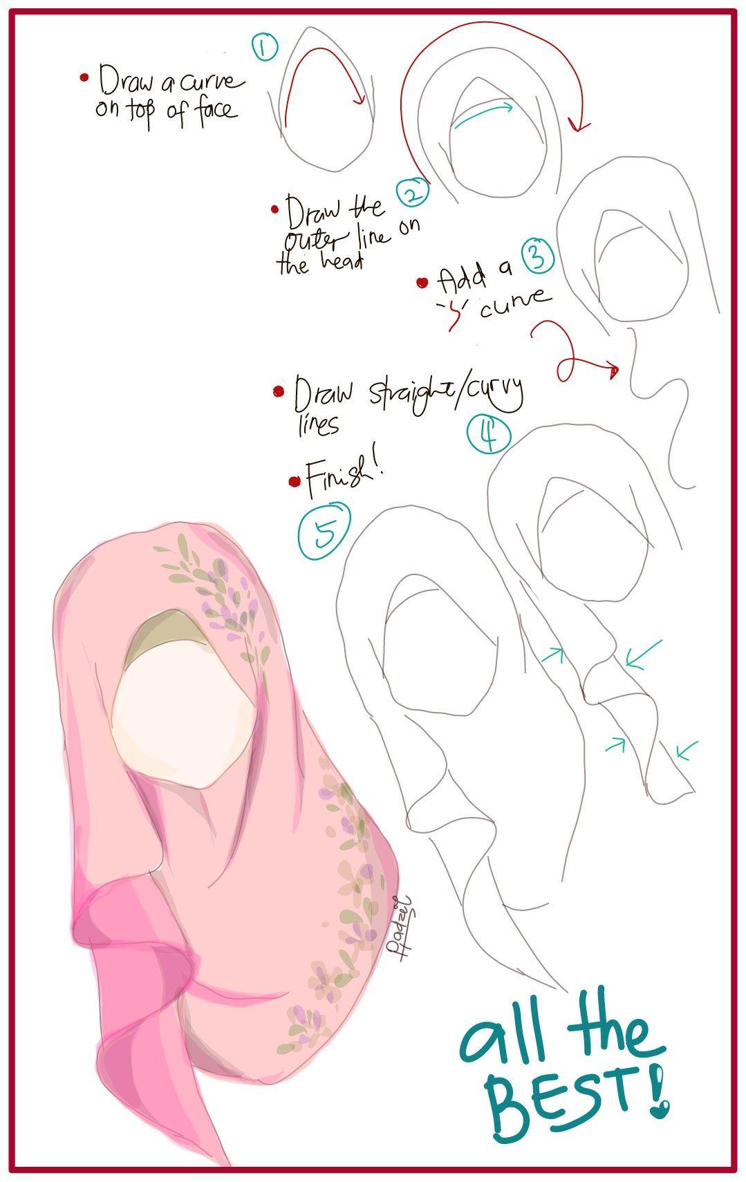 How to draw Hijab hijabtutorial hijab scarf