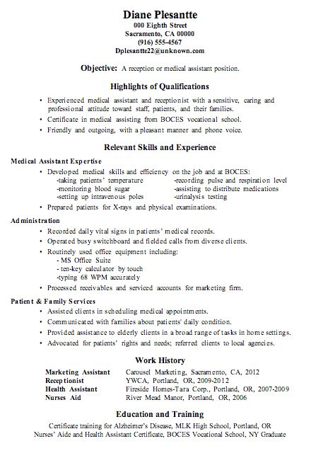 Resume For Medical Receptionist Professional Medical Receptionist - medical secretary job description