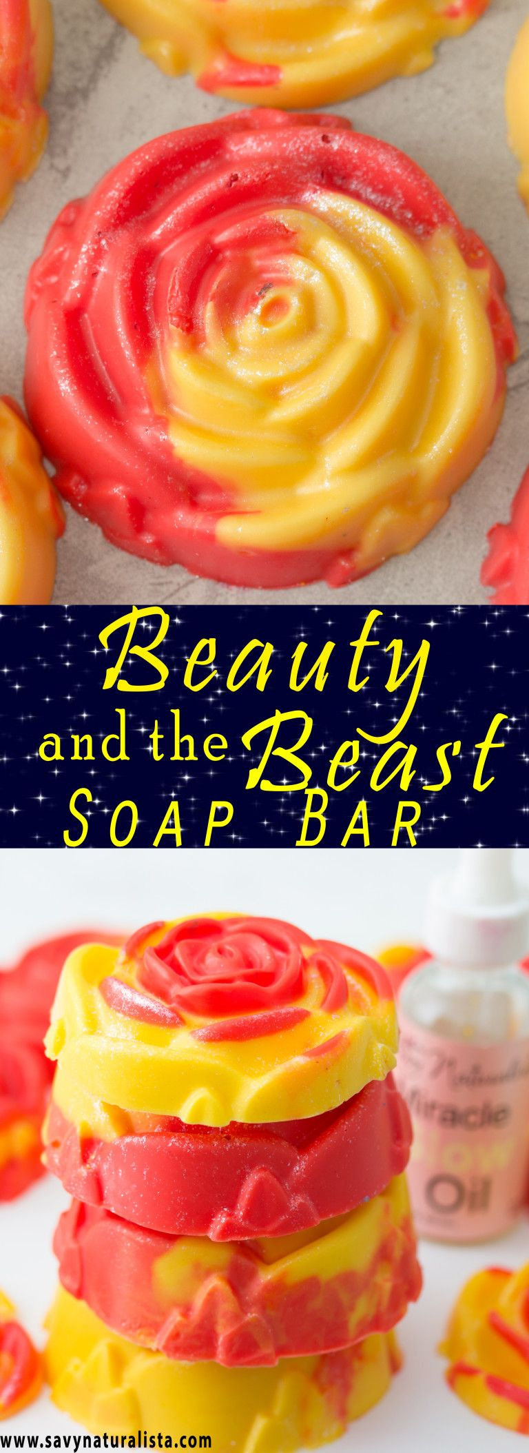 Easy scented beauty and the beast themed soap. It has a beautiful shimmer and smells of fruity berries with only a few simple ingredients.