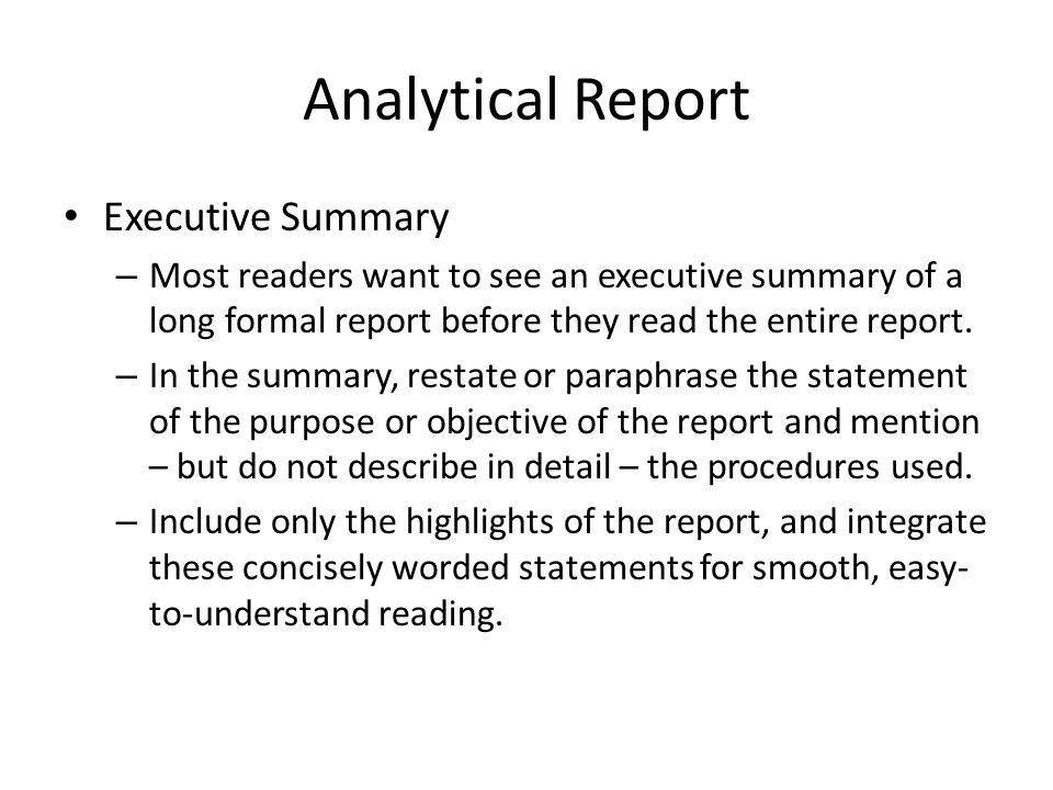 Erfreut Analytical Report Format Ideen - Bilder für das Lebenslauf