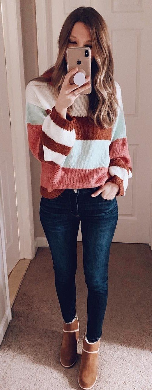 brown and white sweater