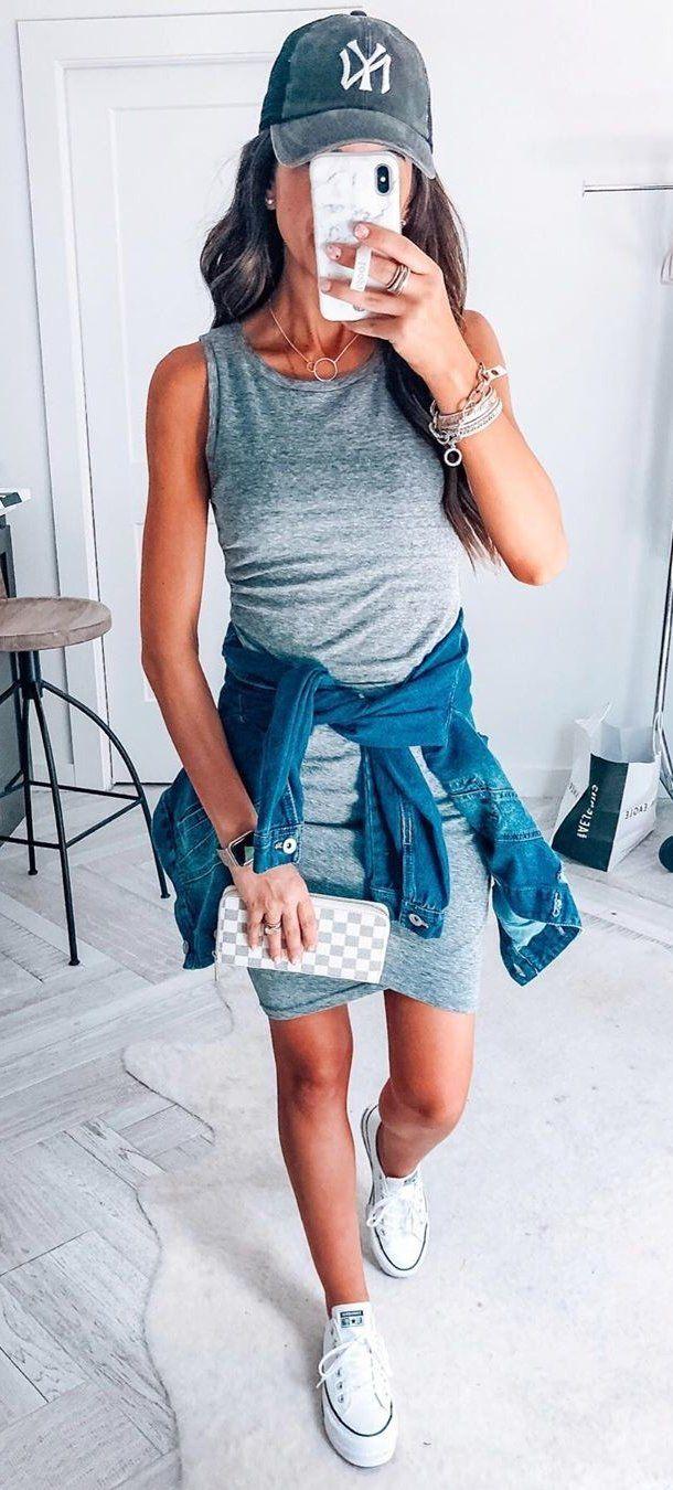 grey sleeveless dress #summer #outfits