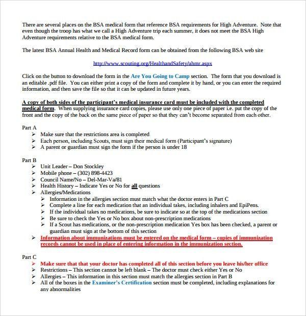 Blank Medical Forms School Medical Form Medical Form Forms Scott - bsa medical form