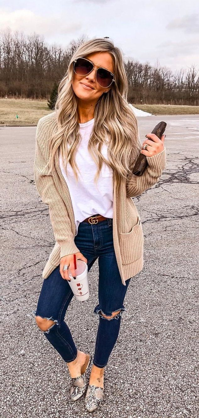 beige knit cardigan #spring #outfits