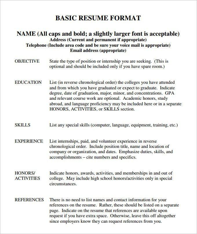 ascii format resume