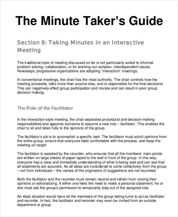 how to keep meeting minutes