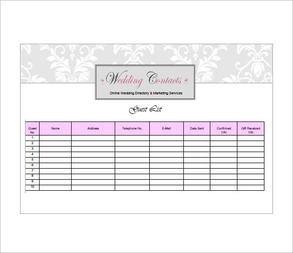 Sample Guest List Sample Wedding Guest List Template 15 Free - invite list template