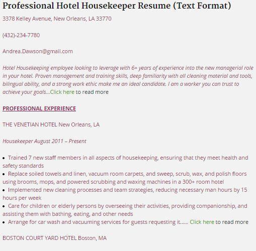 Housekeepers Resume Unforgettable Housekeeper Resume Examples To - resume for housekeeping