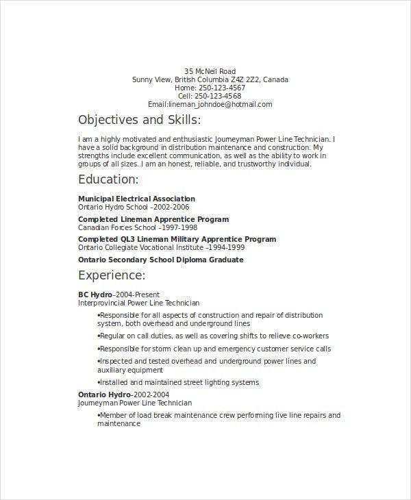 lineman apprentice sample resume node2004-resume-template