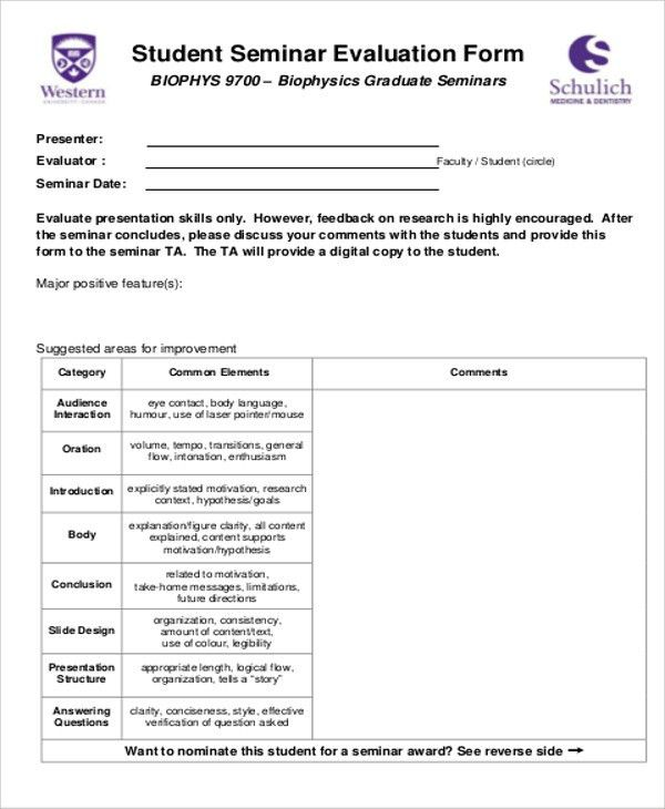 Presentation Feedback Form Templates \u2013 brettfranklin - seminar evaluation form