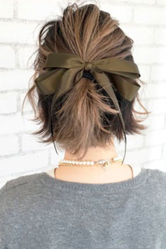 Trendy Styling WIth Ribbon #hairribbon #layeredhair★ Sexy short hairstyles are the answer for those who wonder which type of haircut is the best. Forget about waking up earlier only to fix your hair! #glaminati #lifestyle  #shorthairstyles