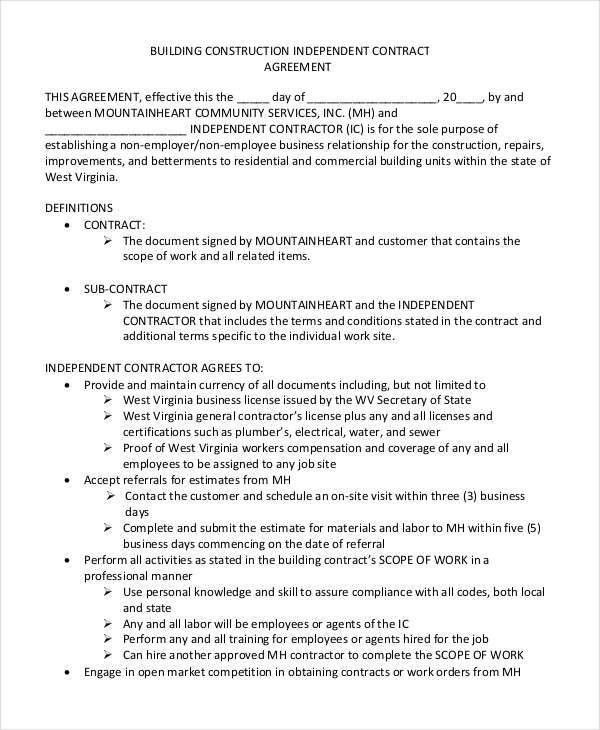 Commercial Construction Contract Template Construction Contract - contract agreement format