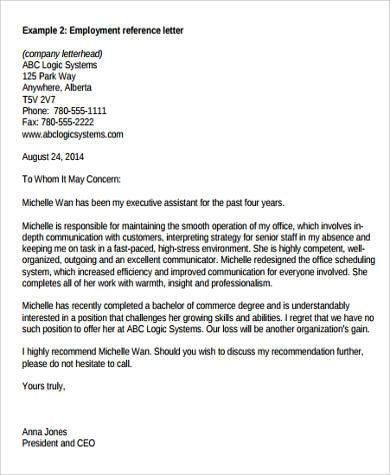 Sample Professional Reference Letter For Employment 6 Job - employment reference letter sample