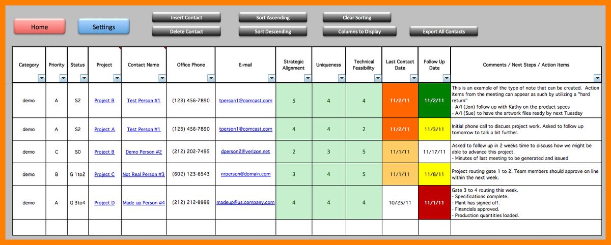 Project Portfolio Management Template Excel