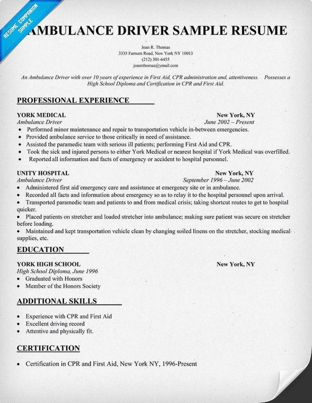 ... Limousine Driver Resume Limousine Driver Resume Sample   Ambulette  Driver Cover Letter ...
