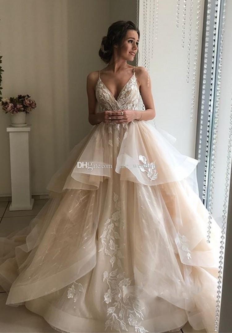 2019 Champagne Ball Gown Wedding Dresses V Neck Spaghetti Straps Appliques Lace Tulle Tiered Backless Bridal Dresses Elegant Wedding Gowns Green Wedding Dresses Halter Wedding Dresses From Yate_wedding, $148.8| DHgate.Com