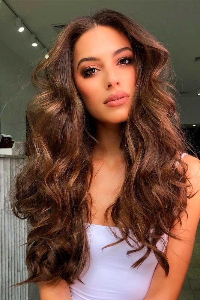 Long Wavy Chestnut Hair #chestnuthair #wavyhairstyles ★ Spring break is approaching, and easy hairstyles that look pretty will come in handy whether you have an active or a passive vacation. See our collection. #glaminati #lifestyle #easyhairstyles