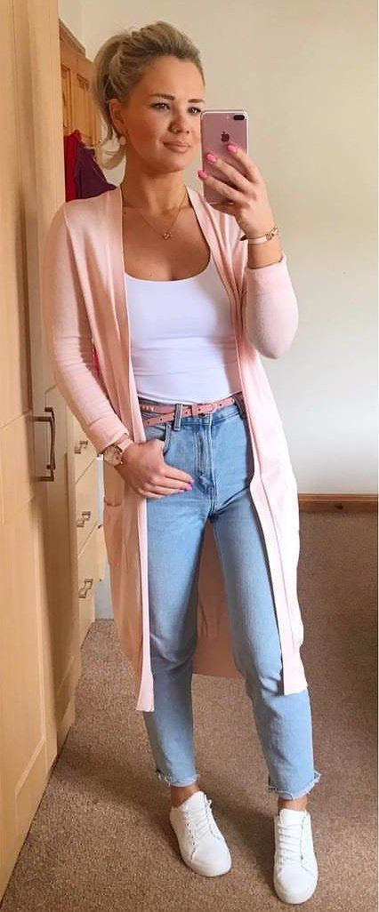 pink cardigan #summer #outfits