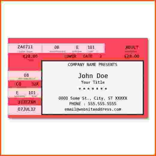 ... Free Concert Ticket Template Fake Concert Ticket Generator   Blank Concert  Ticket Template ...  Free Concert Ticket Template