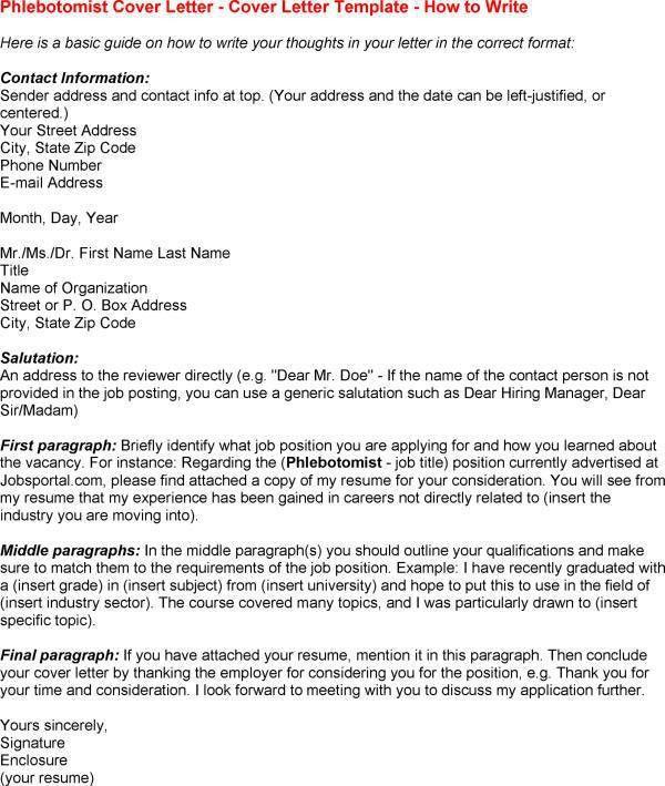 Phlebotomy Cover Letter] Professional Phlebotomist Cover Letter
