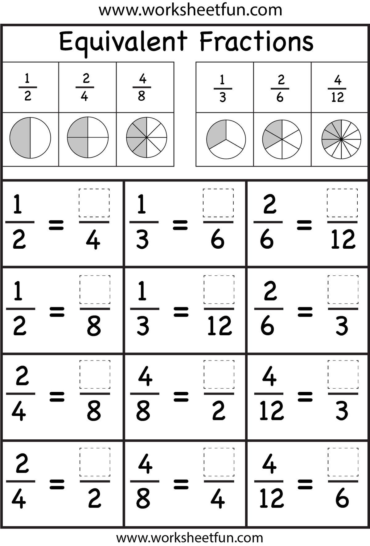 math worksheet : equivalent fractions worksheet  free printable worksheets : Early Years Maths Worksheets