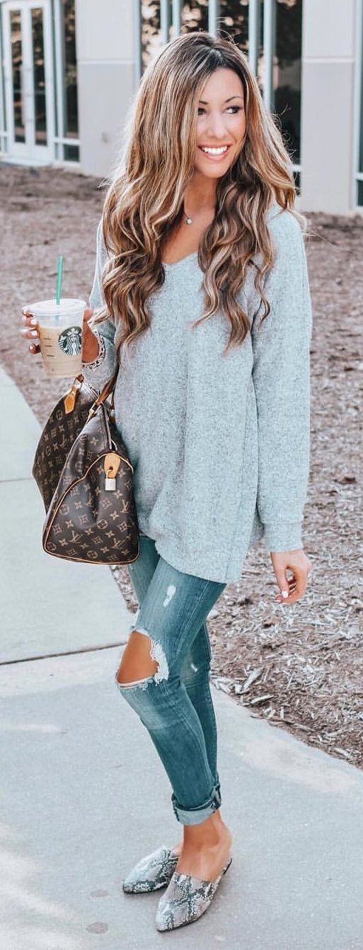 blue V-neck long-sleeved top