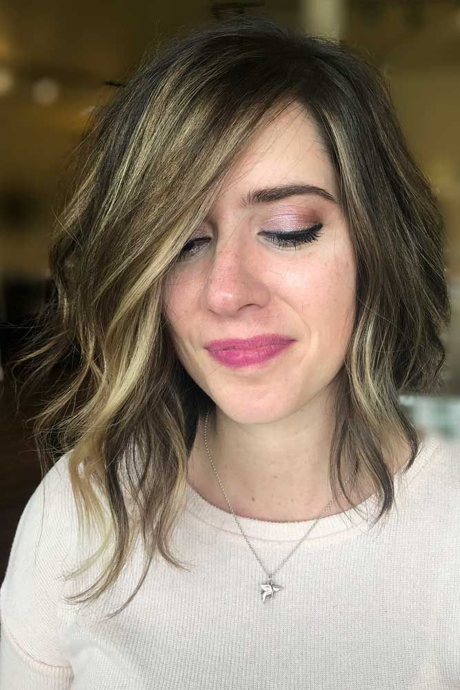 Asymmetrical Lob Haircut With Balayage #balayagehair #wavybob ★ Wavy, straight asymmetrical bob hairstyles for short and medium hair without and with bangs can be found in our gallery. Be edgy and stylish! #glaminati #lifestyle #asymmetricalbob