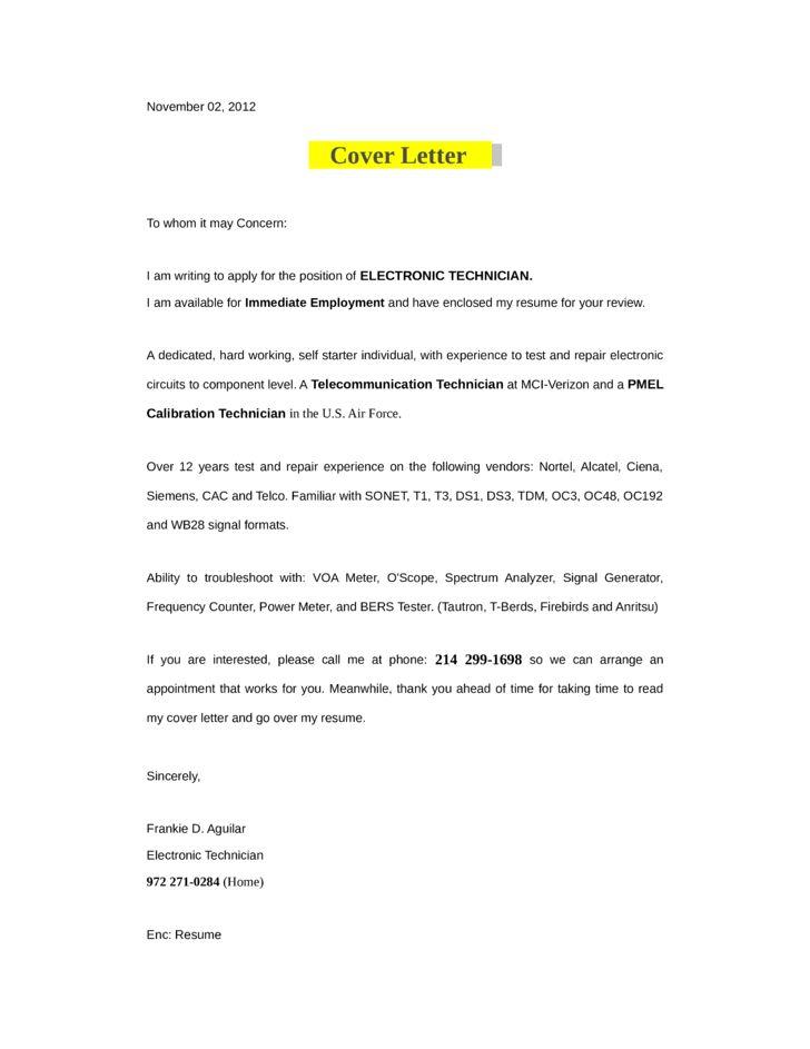 Wonderful ... Electronic Technician Cover Letter Amazing Computer Technician    Nondestructive Tester Cover Letter ...